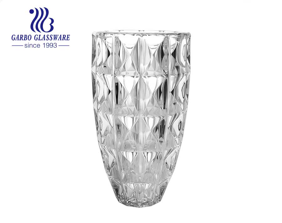 Big Diamond Embossed Clear Soda lime Glass Vase Homeuse decorative flower holder