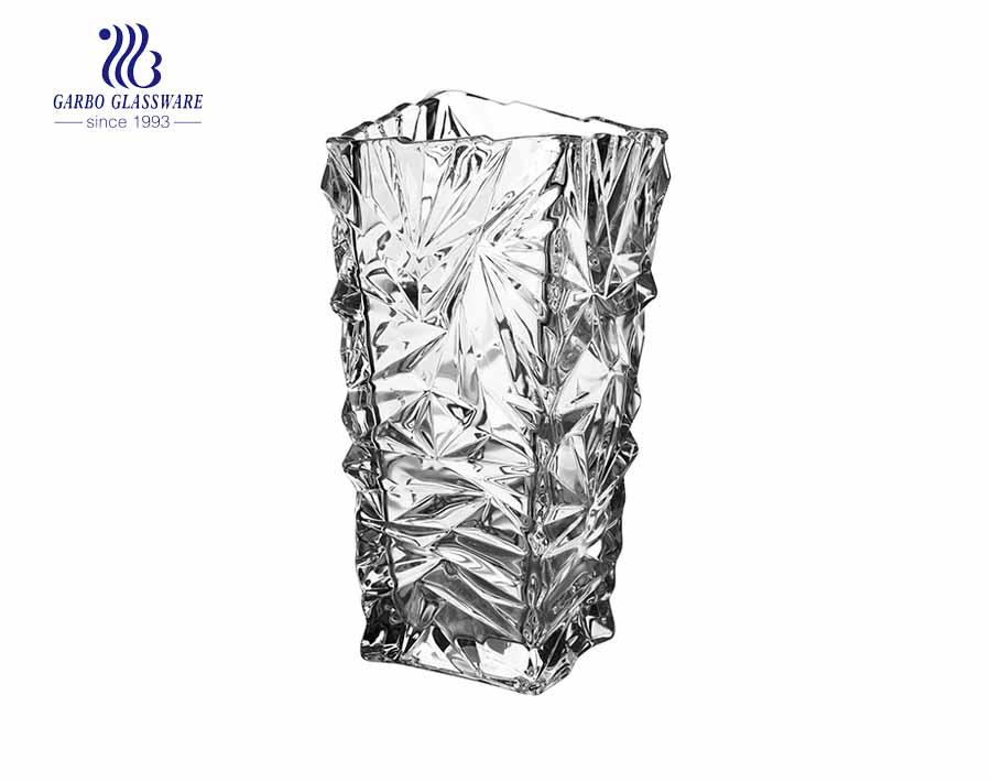 Big Diamond Embossed Clear Soda lime Glass Vase Homeuse decorative flower holder
