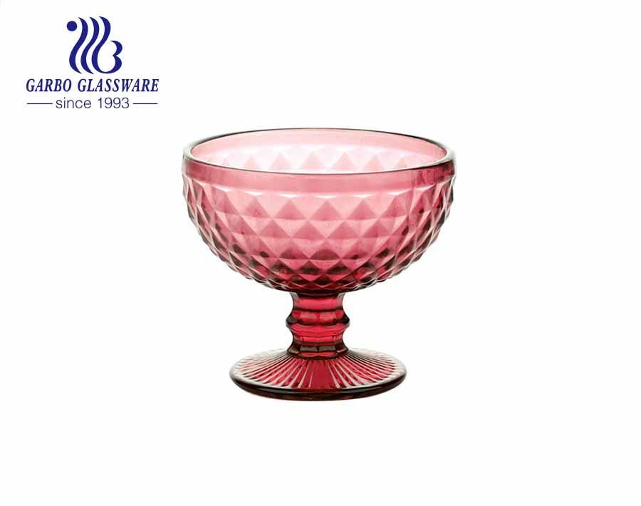 Garbo nuevo diseño sin plomo transparente transparente titular de vidrio tazón de vidrio desierto taza de helado de vidrio de 11 oz
