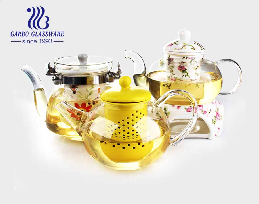 Glass Coffee Tea Kettle Decal Flower Teapots Ceramic Infuser Drinking Tea Pot With Ceramic Holder