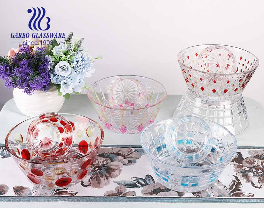 New pattern engraved design spraying color glass salad bowl set with customized color box packing