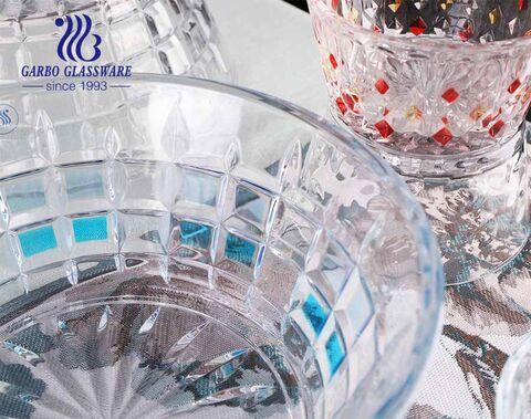 Nuevo diseño grabado con diseño de rociadura de vidrio para ensaladas de color con embalaje de caja de color personalizado