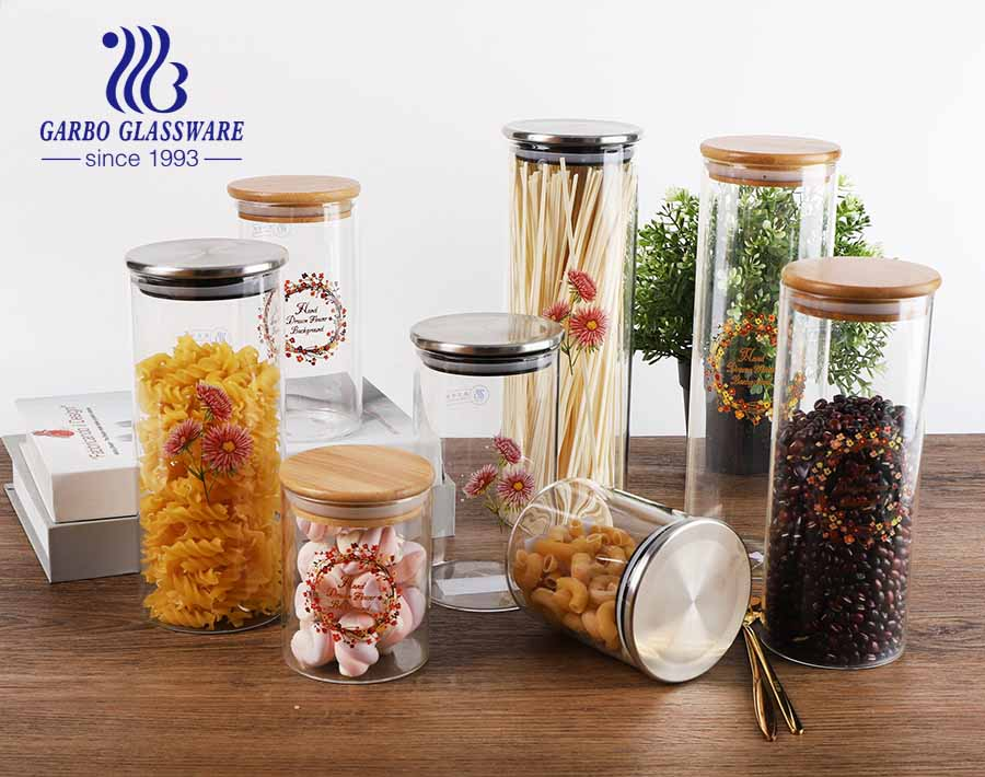 Custom Logo High Guality Chinese Supplier Borosilicate food storage Glass Jar with Sealing Lid