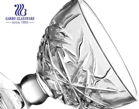 Patrón en relieve de moda Sin plomo Soporte de vidrio transparente transparente Cuenco de vidrio para desierto Taza de helado de vidrio Soporte para latte Taza con base de 10OZ