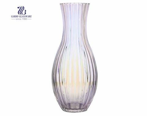 Vaso de vidro para flores decorativas em vaso de vidro com base de flores para uso doméstico em arco-íris roxo de pescoço de cisne Floortop