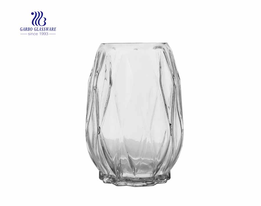 Floortop Rainbow Purple  Swan Neck  Clear Soda lime Glass Vase Homeuse decorative flower  holder glass collection