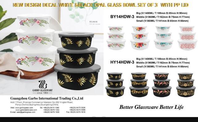 Novos designs de decalques Conjunto de tigelas de vidro opala 3 unidades brancas e pretas
