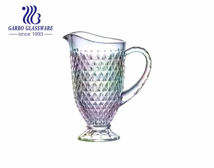 Jarra de vidrio de agua de té helado única, leche de café y jugo, jarra de vidrio grabada para bebidas con asa