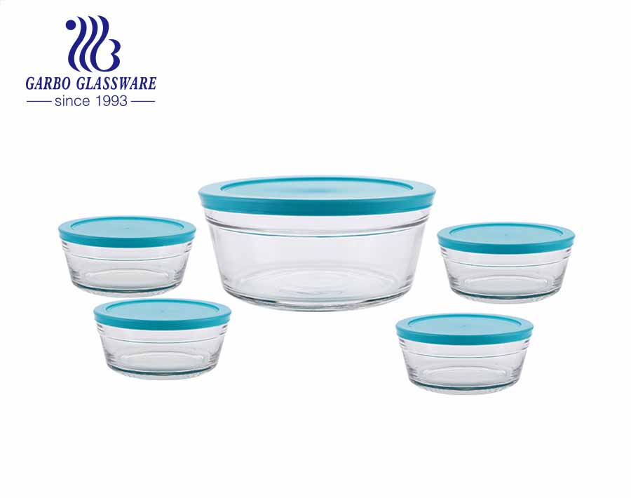 Five pieces glass fruit fresh bowl set food canister with blue lid 1 big size 4 small size for kitchen refrigerator use