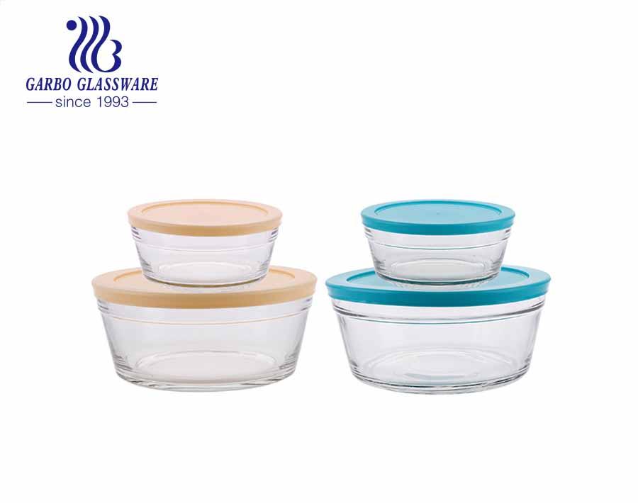 Juego de cuencos frescos de frutas de vidrio de cinco piezas bote de comida con tapa azul 1 tamaño grande 4 tamaño pequeño para uso en refrigerador de cocina