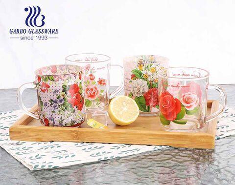 Les tasses à thé en verre Garbo personnalisent des décalcomanies complètes Designs personnalisés tasses de 8 oz avec poignée