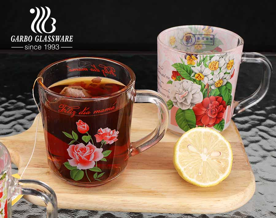Garbo glass tea mugs customize full decals personalized designs 8oz cups with handle