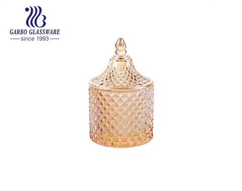 Caja de plato de caramelo de tarro de almacenamiento cubierto de vidrio dorado elegante plateado ión 110ml tamaño pequeño