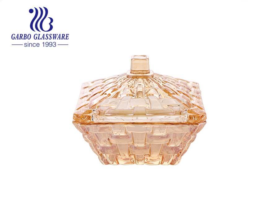 Ionenbeschichtete elegante goldene glasüberzogene Vorratsglas Candy Dish Box 110ml Small Size