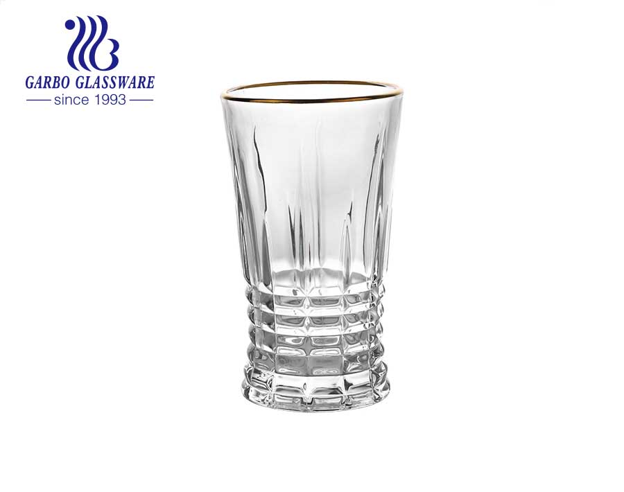 DIAMOND brand in stock glassware standard 8oz engraved glass cup with food safe gold rim