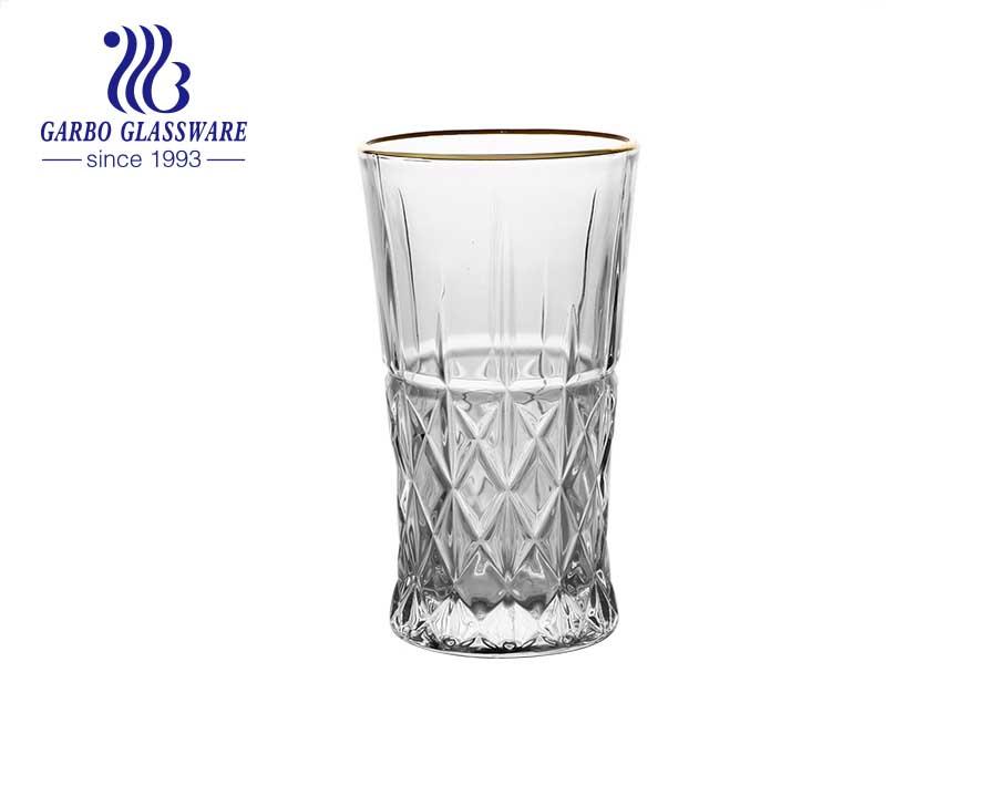 العلامة التجارية DIAMOND في الأواني الزجاجية القياسية 8oz كوب زجاجي محفور مع حافة ذهبية آمنة للطعام