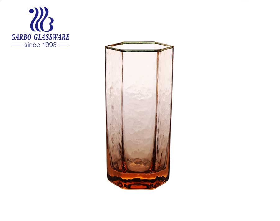 Luxury handmade blown glass tumbler tinted color hexagonal highball glass cup with gold rim
