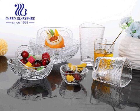 Mini tigela prensada de vidro de 5 polegadas 300ml com padrão de martelo e de boa qualidade