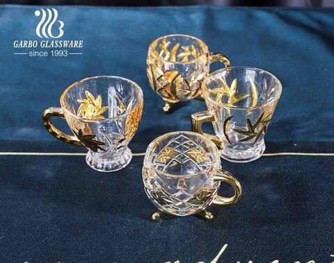 Tasse à thé en verre doré Garbo avec support Tasses à thé de style Moyen-Orient de 6 oz avec poignée dorée