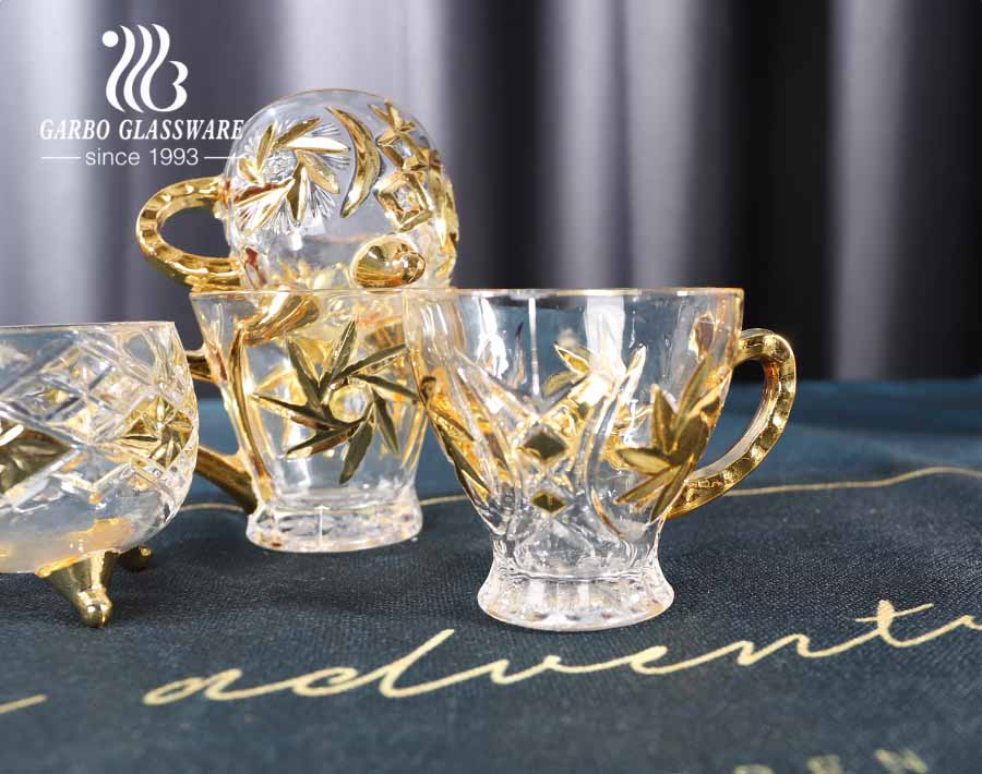 Garbo gold glass tea mug with stand 6oz Middle East Style teacups with golden handle