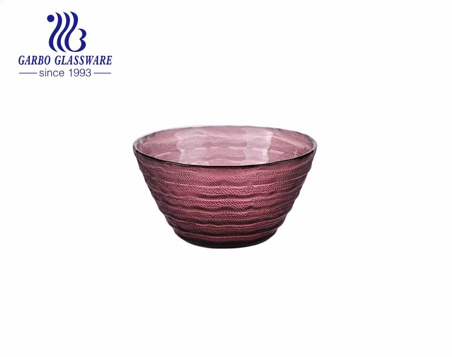 550ml Handblown solid color purple velvet glass fruit bowl with smooth surface inside engraved design outside