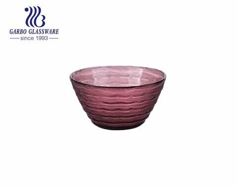 Bol à fruits en verre de velours violet de couleur unie 550 ml soufflé à la main avec une surface lisse à l'intérieur de la conception gravée à l'extérieur