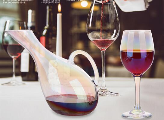 Nouvel ensemble de verrerie design: Ensemble de carafe à vin en verre coloré à placage ionique