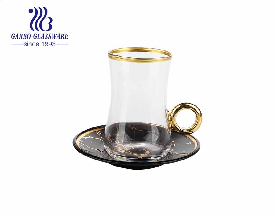 Phong cách Thổ Nhĩ Kỳ tách trà thủy tinh với đĩa đựng quà hộp bao bì tùy chỉnh thiết kế decal tách trà viền vàng có tay cầm