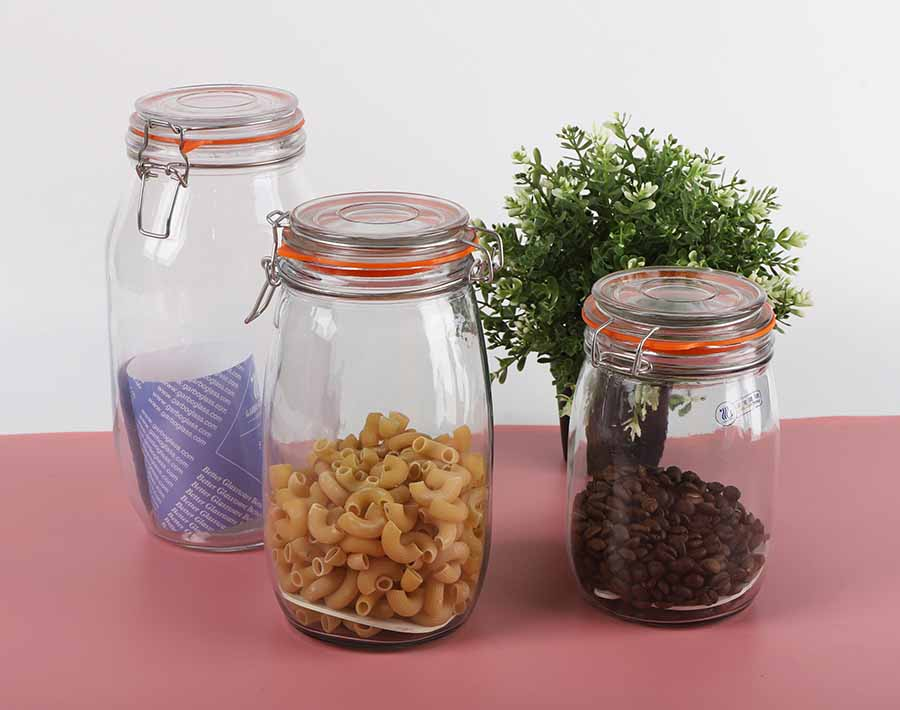 1.5 Liters glass mason canning jars with wide mouth glass storage jars with clamp lids