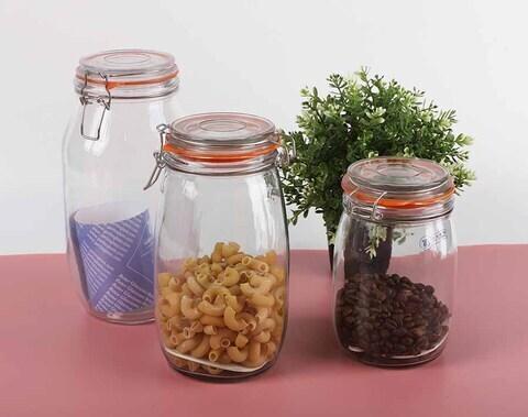 Frascos de conservas de vidro de 1.5 litros com potes de armazenamento de vidro de boca larga com tampas de pinça