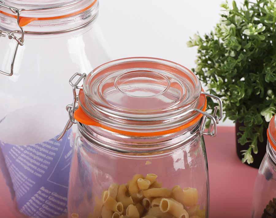 1.5 لتر برطمانات تعليب زجاجية مع أوعية تخزين زجاجية بفتحات واسعة مع أغطية ملزمة