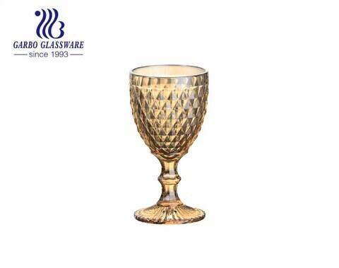 Copas de cristal con diseño de diamante grande de 300 ml para beber vino y jugo para uso en restaurantes
