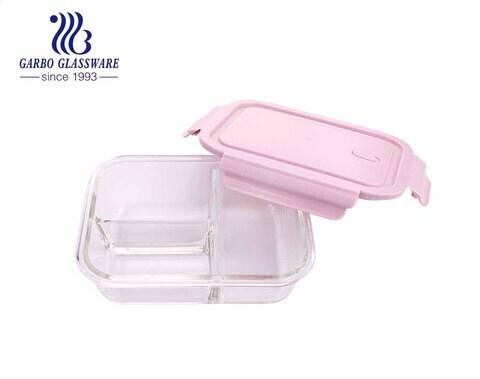 Recipientes retangulares de vidro Pyrex 1L para alimentos com divisória interna e tampas de travamento rosa