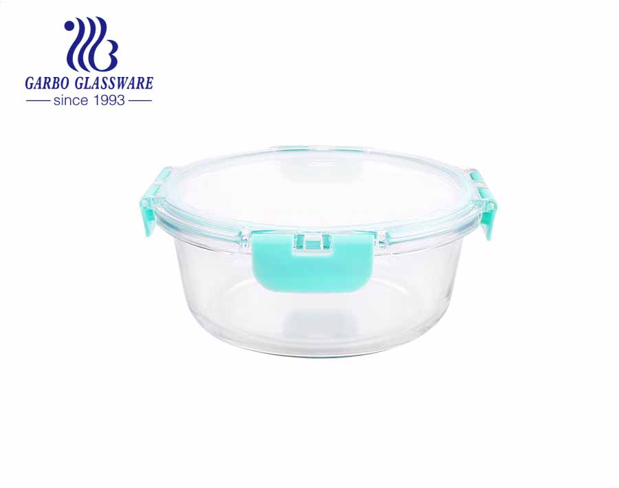 Capacity of 400ml round glass food lunch containers with leak proof lids
