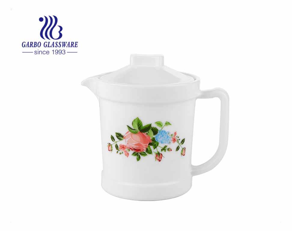 Bình trà thủy tinh trắng đục dung tích 680ml với thiết kế hoa tùy chỉnh