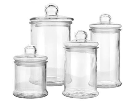 Ensemble de bocaux en verre 4PCS avec couvercles en verre scellés
