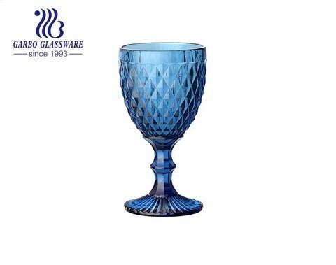 Vasos de vidrio con diseño de diamante grande de 300 ml para beber vino para la decoración del hogar