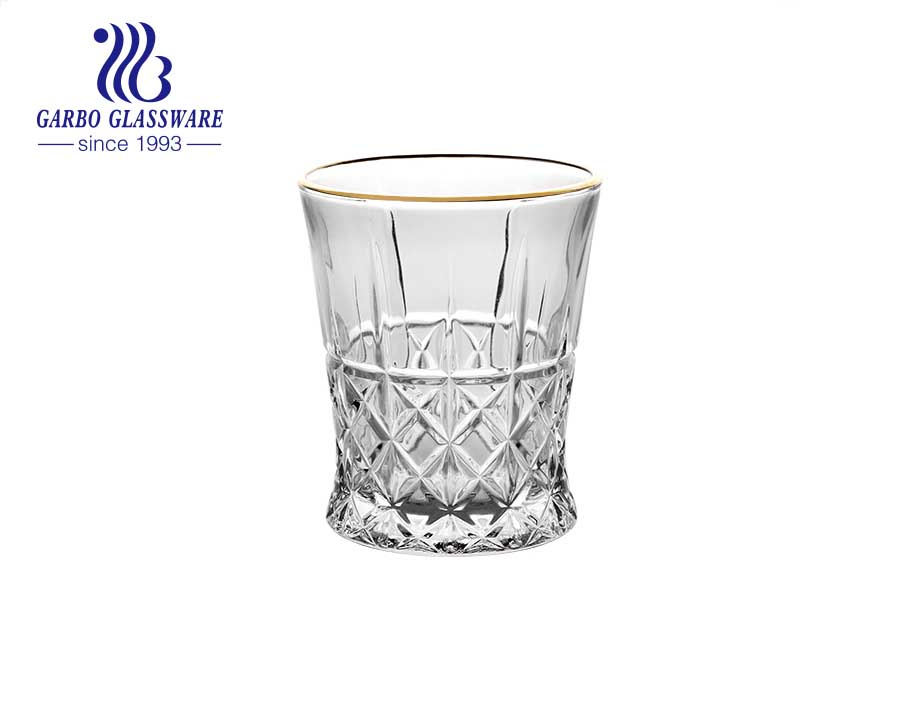 DIAMOND brand in stock 9oz-10oz 275ML engraved glass cup with custom gold silver rim