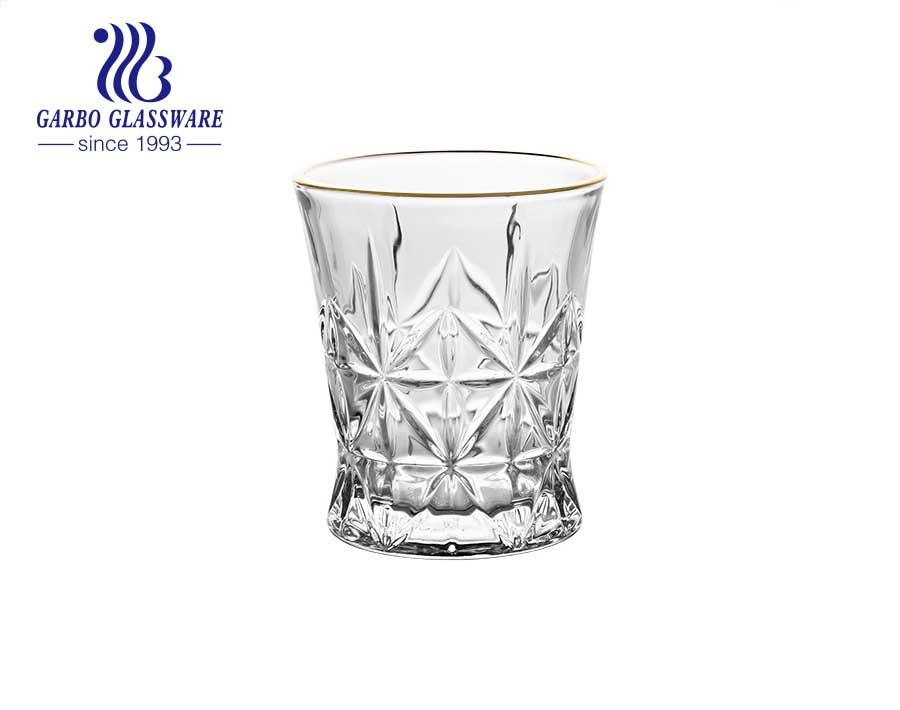 العلامة التجارية DIAMOND في المخزون 9oz-10oz 275 مللي كوب زجاجي محفور مع حافة ذهبية فضية مخصصة