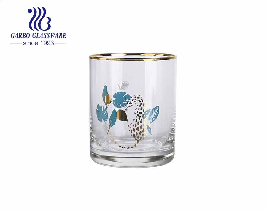 Low MOQ cốc thủy tinh thổi thủ công cốc nước giải khát với viền vàng sang trọng và bức tranh động vật