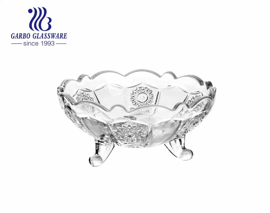 Middle-east style 5-inch sunflower design small glass fruit salad ice cream bowl with feet