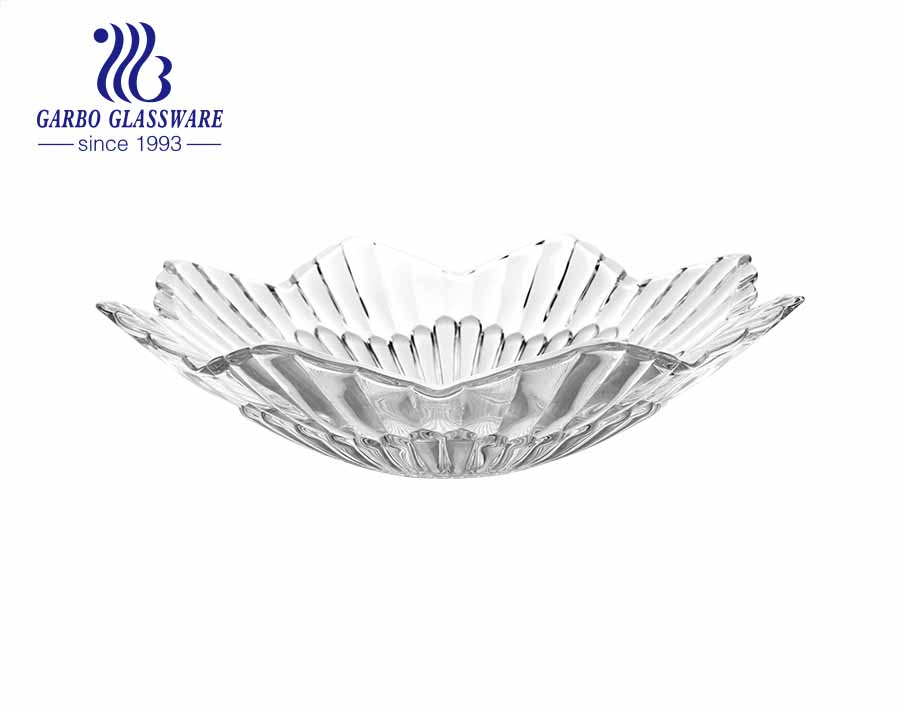 Handmade 10 inch clear round-shape glass fruit plate with round circle pattern and short edge