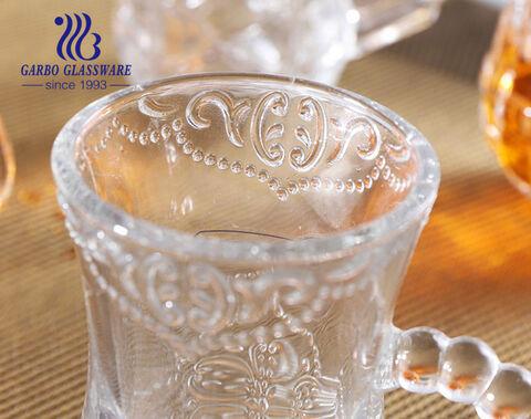 3oz Wholesale Turkish glass tea cups with handle home use clear tea mugs