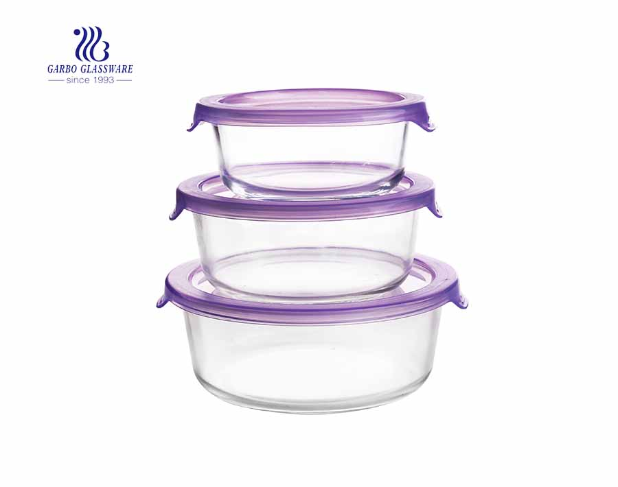 Set of 3pcs round glass food containers with simple plastic lids