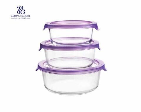 Conjunto de recipientes para alimentos de vidro redondo de 3 unidades com tampas de plástico simples