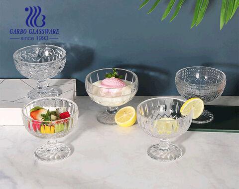 Thiết kế miệng lớn 13oz Bát kem thủy tinh, Ly Sundae, Bát salad trái cây Đĩa thủy tinh không chì