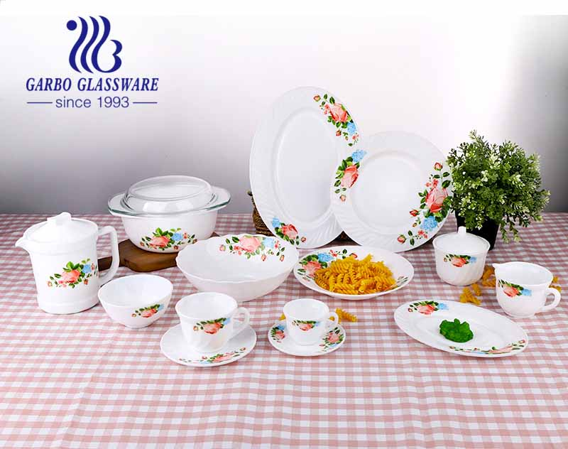 White tempered opal glass set of 58pcs dinner set for wedding