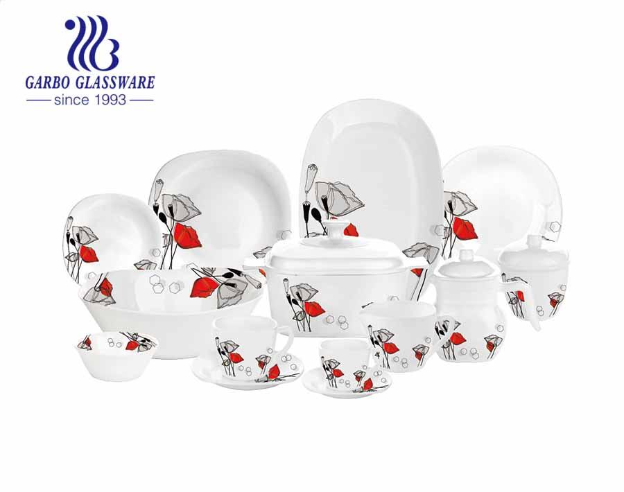 White tempered opal glass set of 58pcs dinner set for wedding