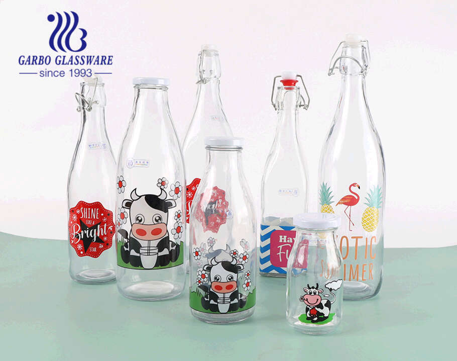 500ml cow design  milk juice bottle  creactive water glass bottle juice beverage outdoor lead free sporty bottle