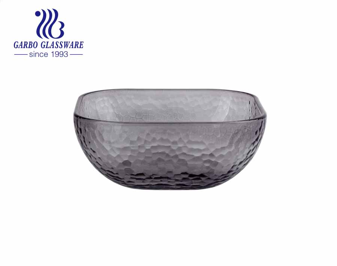High-end transparent popular hammer pattern square glass bowl fruit vegetable dessert bowl with smooth inside